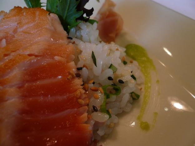 Salmon tataki with deconstructed sushi rice salad macro