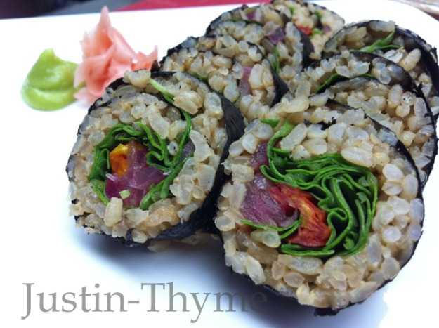 Vegan Brown Rice Sushi Roll with sun dried tomato, organic spinach & pickled red onion